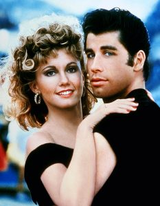 "Olivia Newton John and John Travolta in 1978  movie "" Grease"""